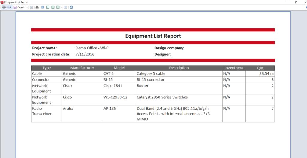 Equipment List Report