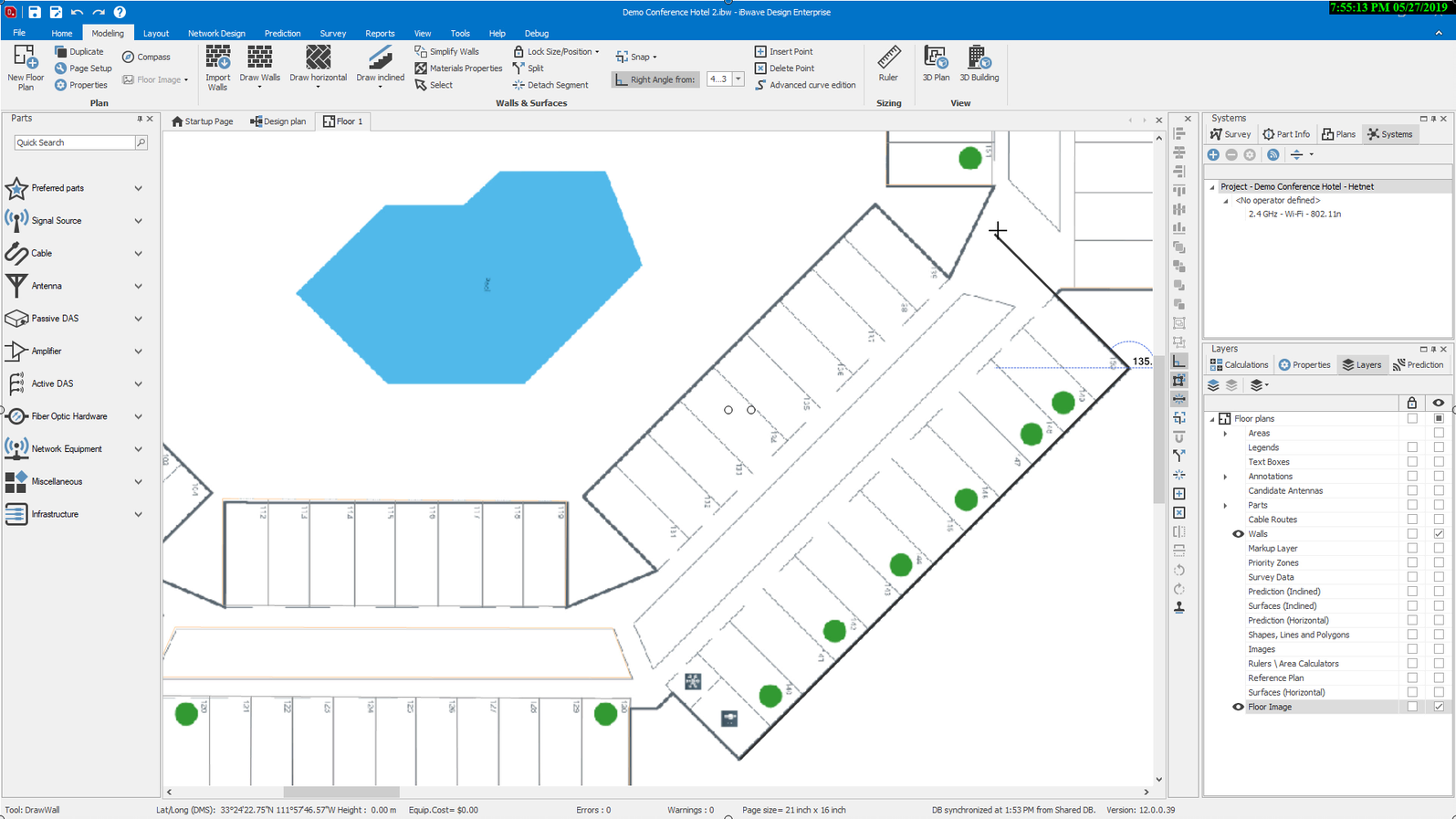 iBwave Release 12: Diagonal Drawing feature