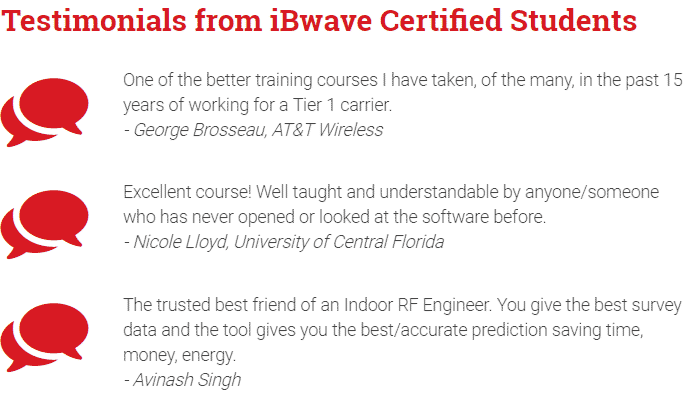 Testimonials from iBwave certified students